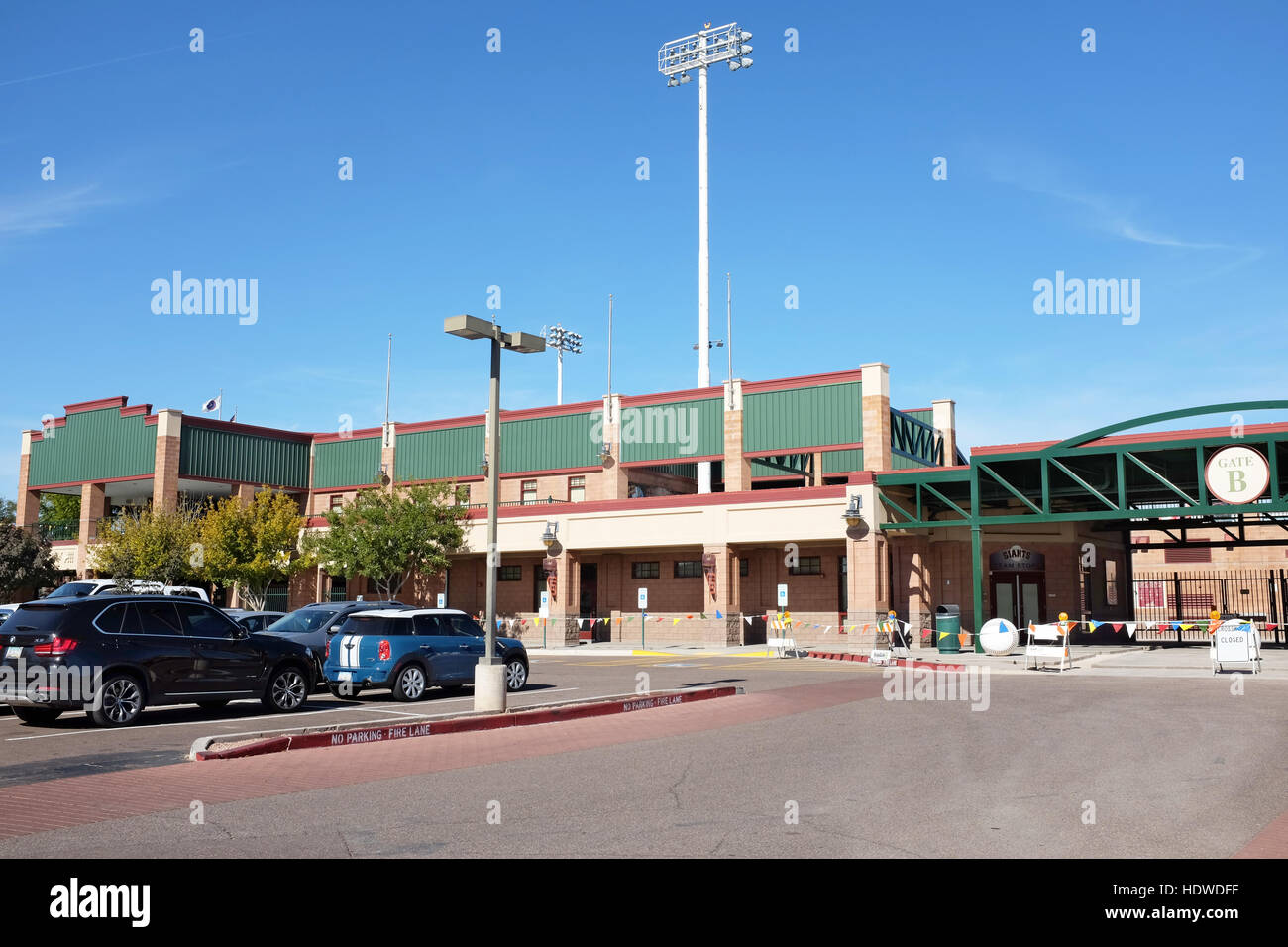 Gate B at Scottsdale Stadium the Spring Training home of the San Francisco Giants of  Major League Baseballs National - Stock Image