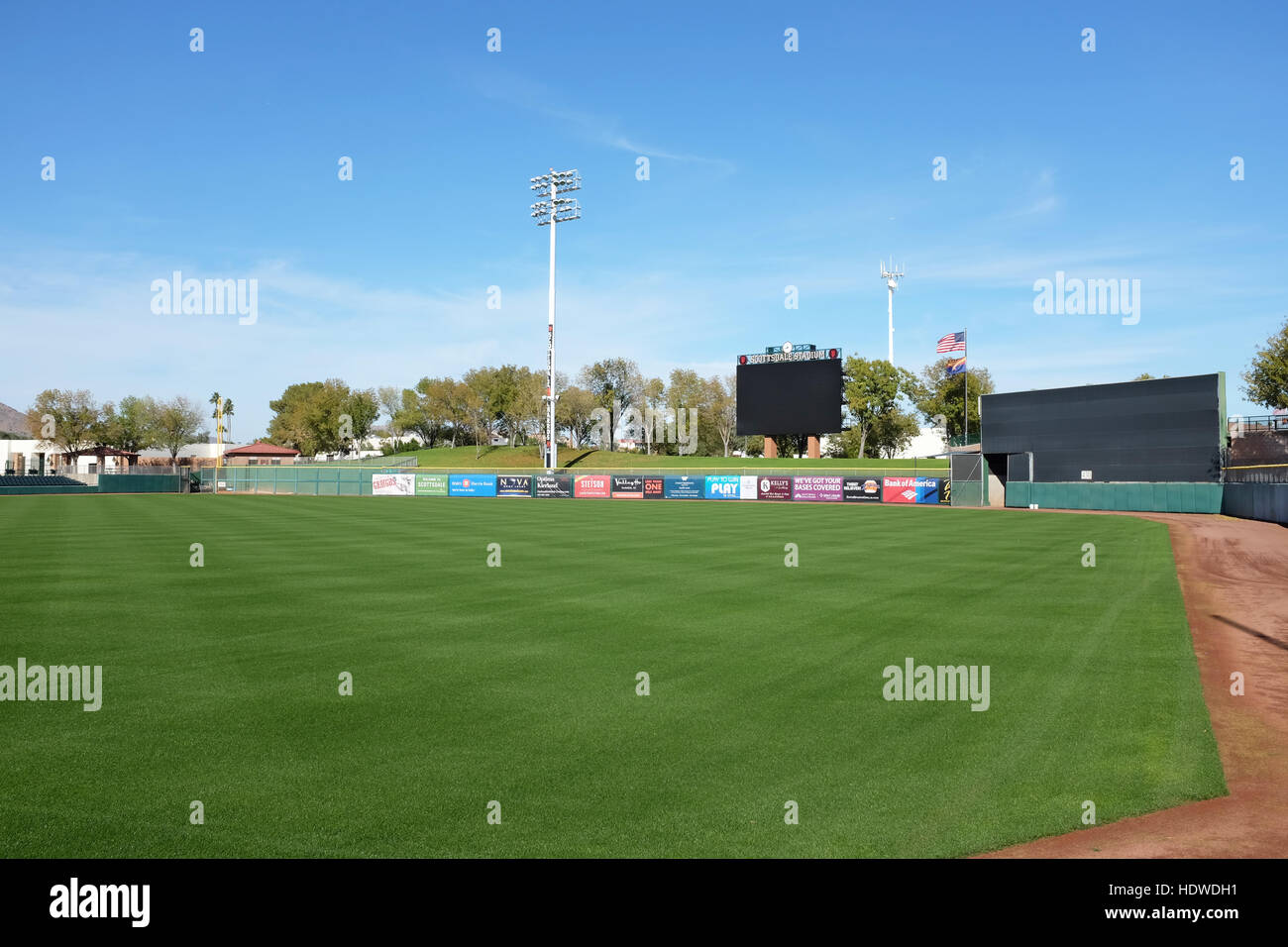 Scottsdale Stadium Looking across the outfield grass. The stadium is the Spring Training home of the San Francisco - Stock Image
