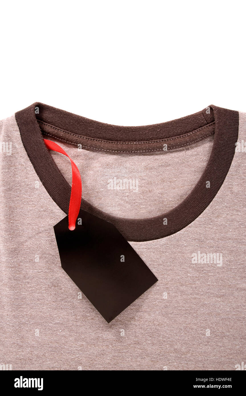 16191e10 Price tag attach on brown tshirt. isolated over white background ...