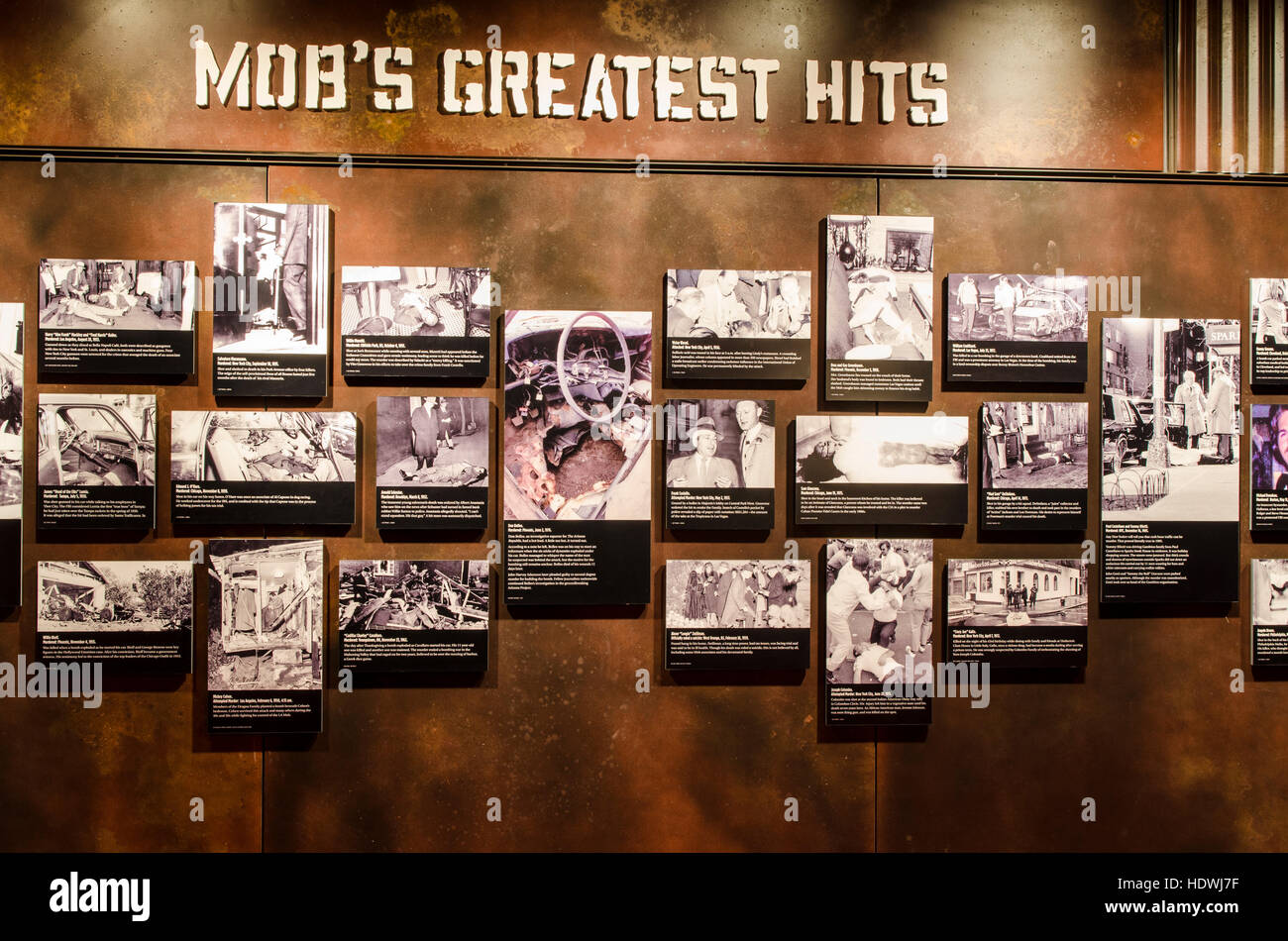 Exhibits and displays in The Mob Museum Las Vegas, Nevada Stock Photo -  Alamy