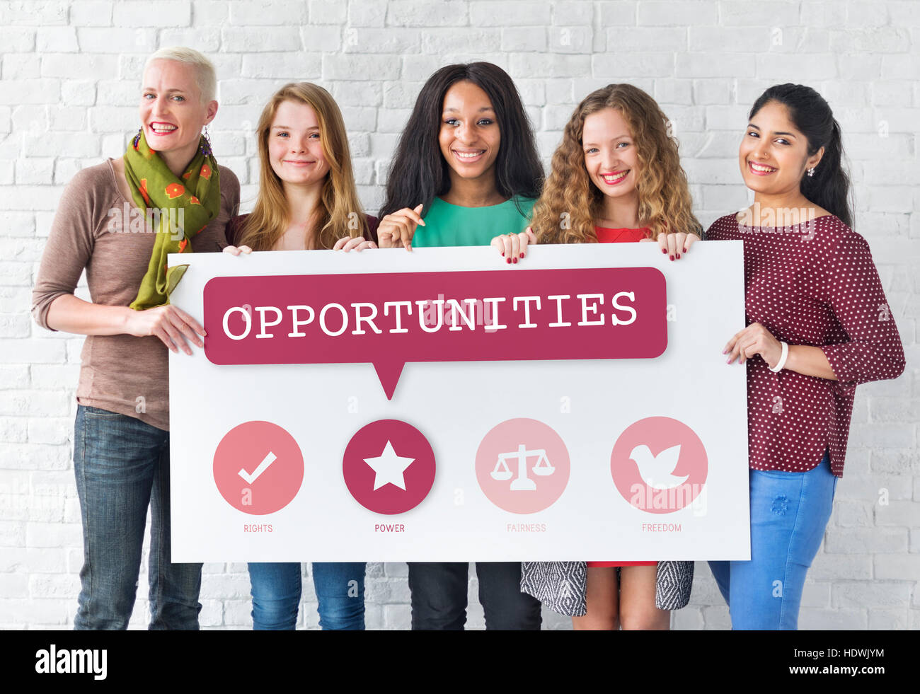 Women Rights Equality Opportunities Fairness Feminism Concept Stock Photo