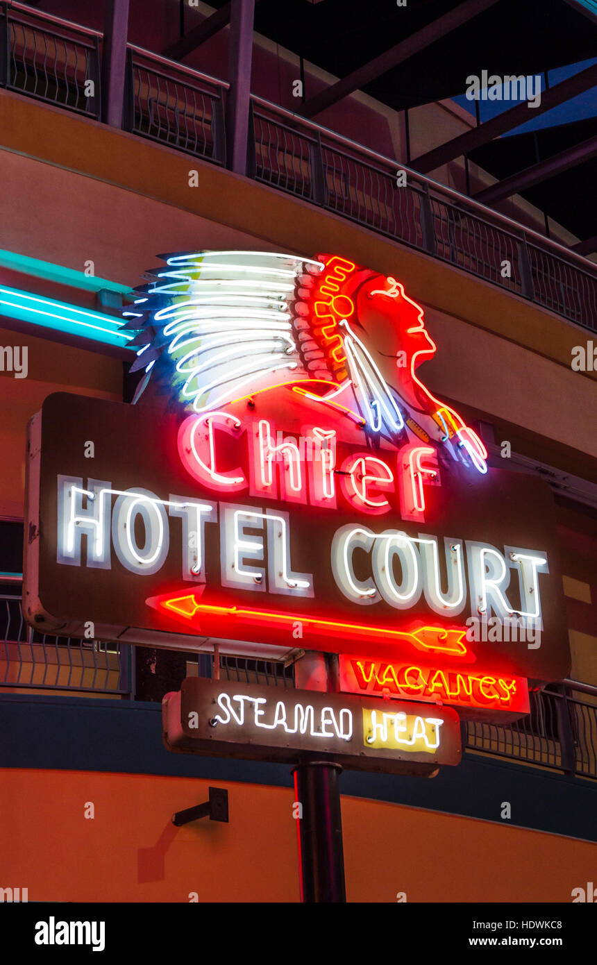 The Chief Hotel Court neon was originally installed at the same named hotel in 1940, Neon Museum, Las Vegas, Nevada. - Stock Image