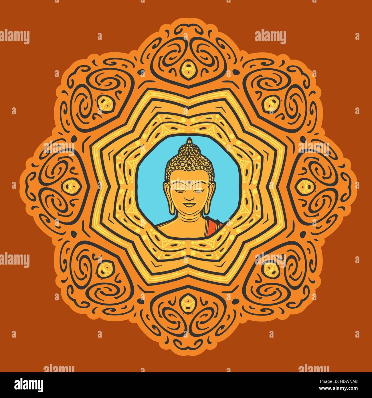 c3708951e4c66 Buddha face over ornate mandala. Esoteric vintage vector illustration.  Indian, Buddhism, Thai