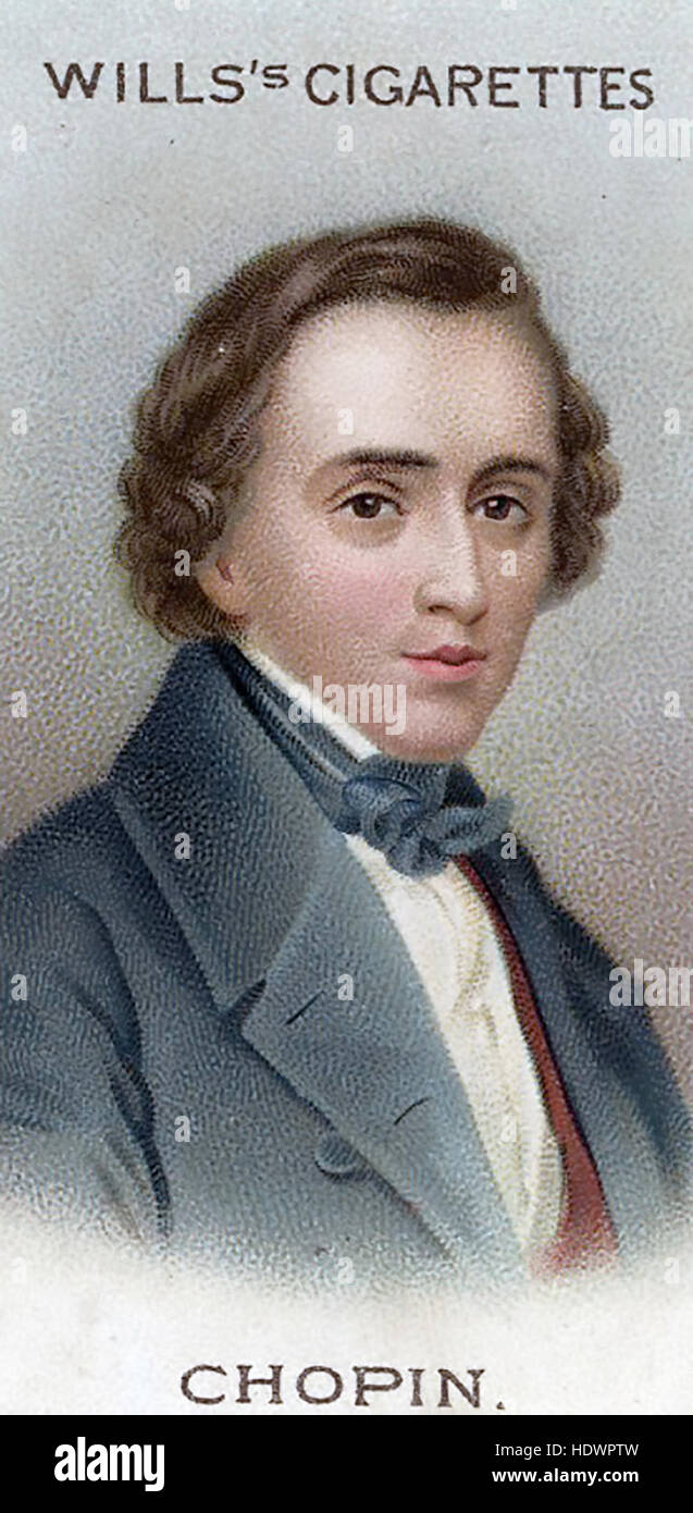 FREDERIC CHOPIN (1810-1849) Polish composer on a Will's cigarette card about 1914 - Stock Image