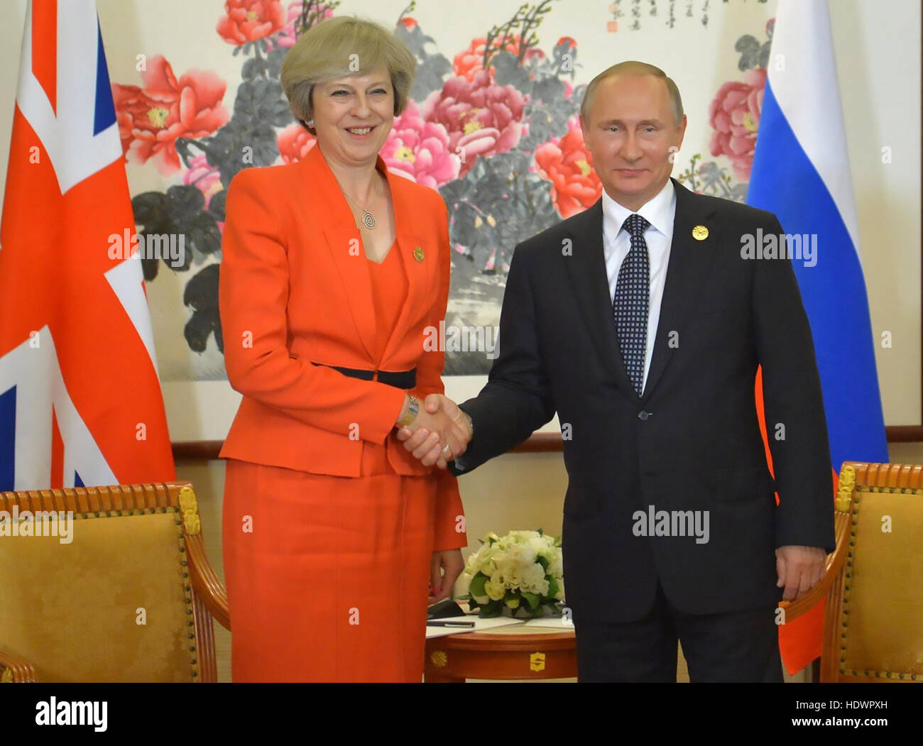 THERESA MAY, British Prime Minister meets Vladimir Putin,President of the Russian Fderationj, at the G20 Summit - Stock Image