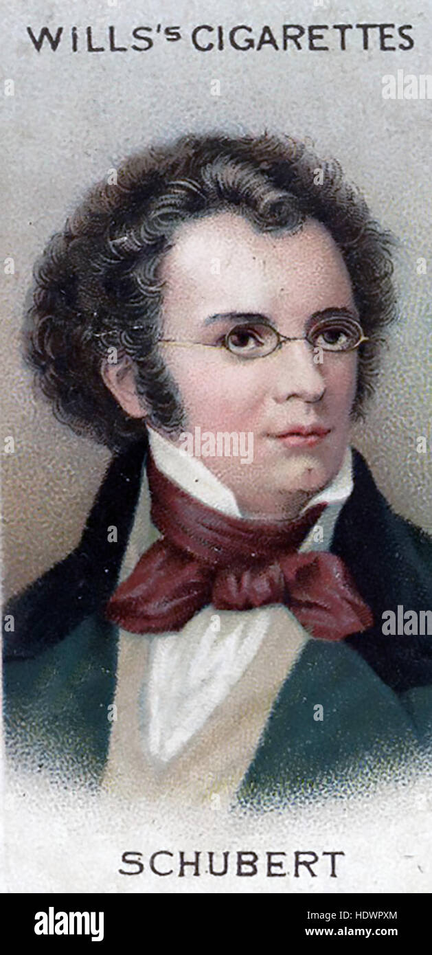 FRANZ SCHUBERT (1797-1828) Austrian composer on a Will's cigarette card about 1914 - Stock Image