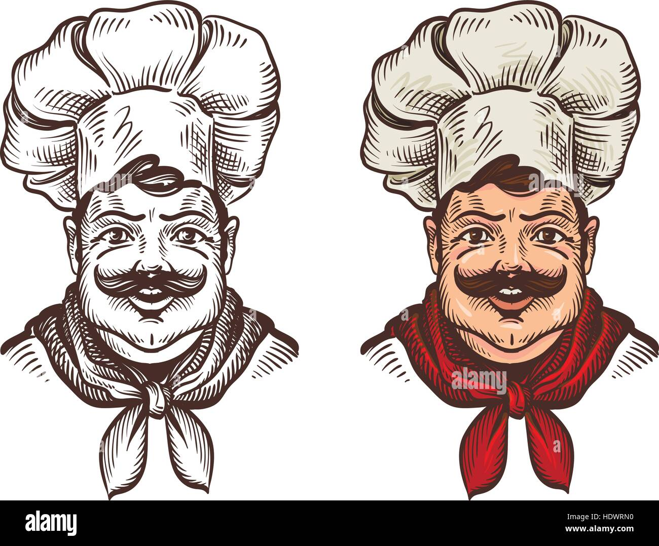 Chef face caricature cartoon. Vector illustration Stock Vector