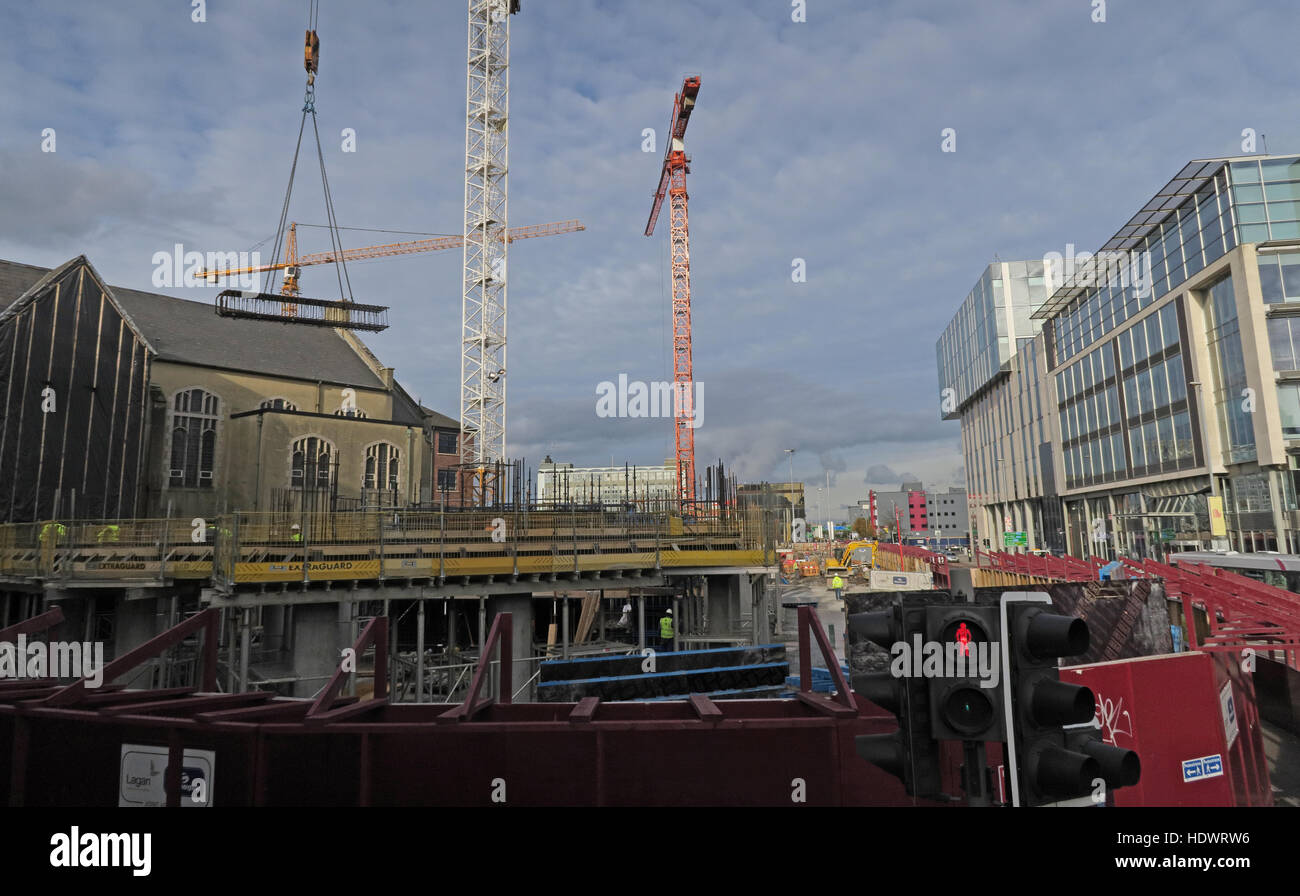 Construction and modernisation of Belfast city Centre, Northern Ireland, UK - Stock Image