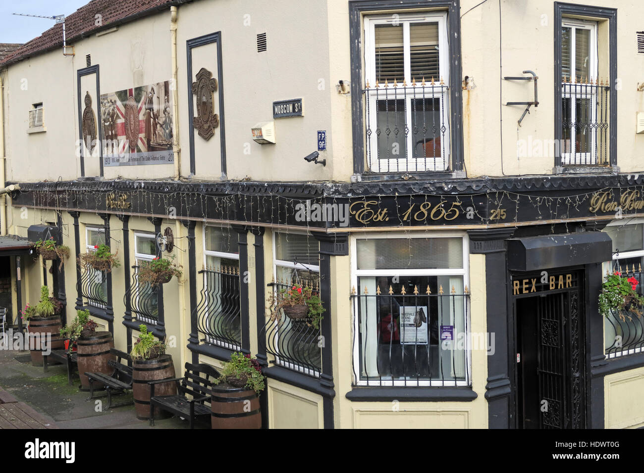 Moscow st, Rex Bar, Shankill Road West Belfast,Northern Ireland,UK - Stock Image
