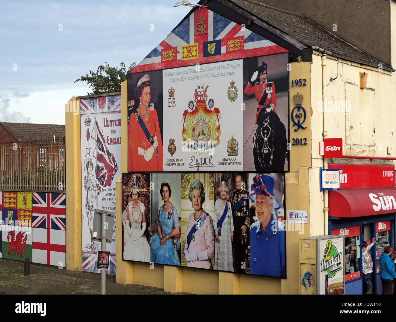 60 years of Queen Elizabeth II Shankill Road West Belfast,Northern Ireland,UK - Stock Image