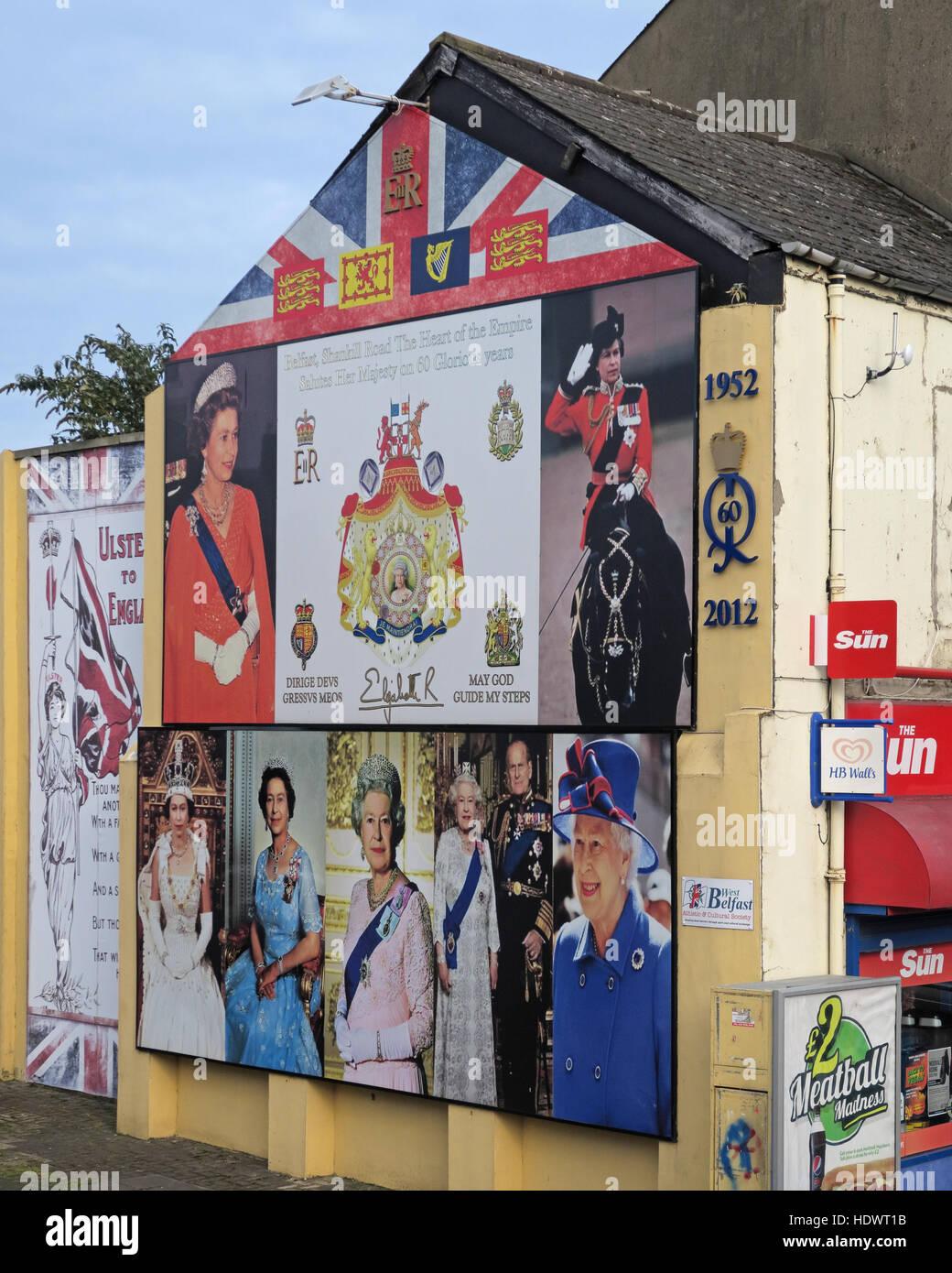 60 years of Queen Elizabeth II Shankill Road West Belfast,Northern Ireland,UK Stock Photo