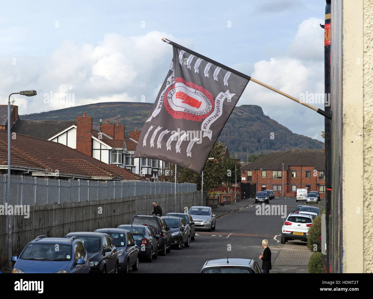 UVF flag, off Shankill Road West Belfast,Northern Ireland,UK - Stock Image