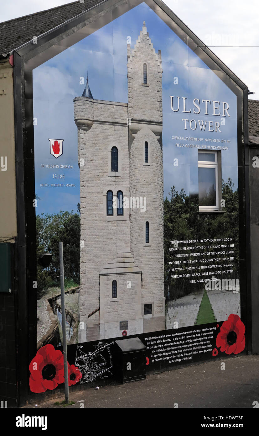Ulster Tower mural, off Shankill Road West Belfast,Northern Ireland,UK - Stock Image