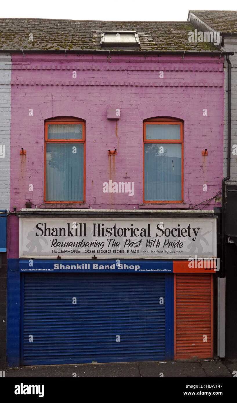 Band Shop,Shankill Road West Belfast,Northern Ireland,UK Stock Photo