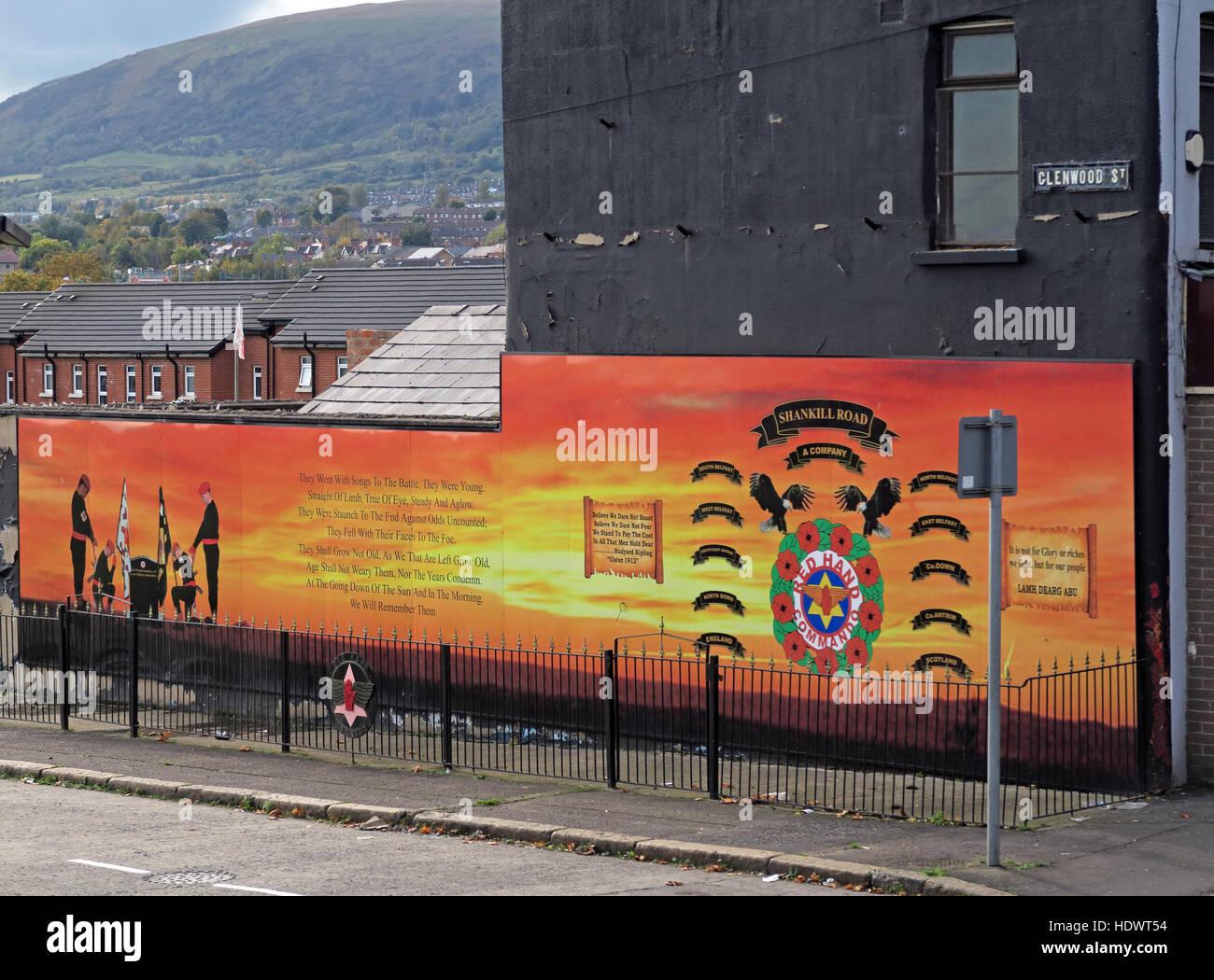 UFF Unionist mural, off Glenwood St/Shankill Road West Belfast,Northern Ireland,UK - A Company battalion - Stock Image