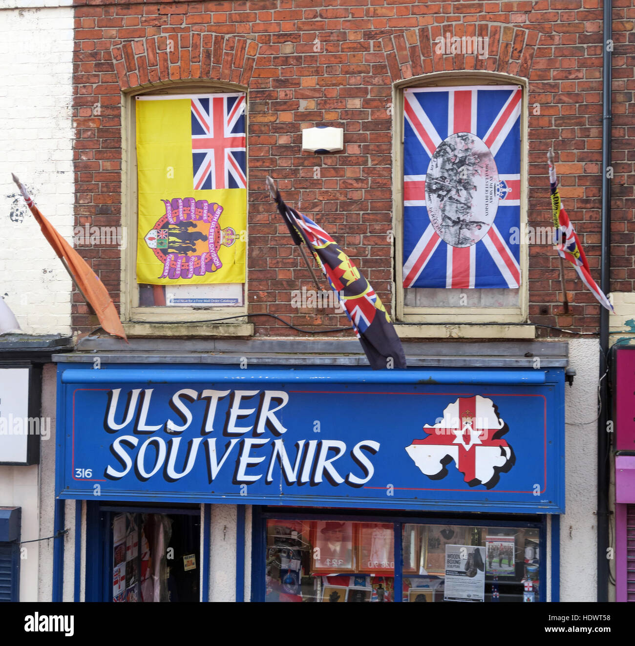 Ulster Souvenirs, Shankill Road West Belfast,Northern Ireland,UK - Stock Image