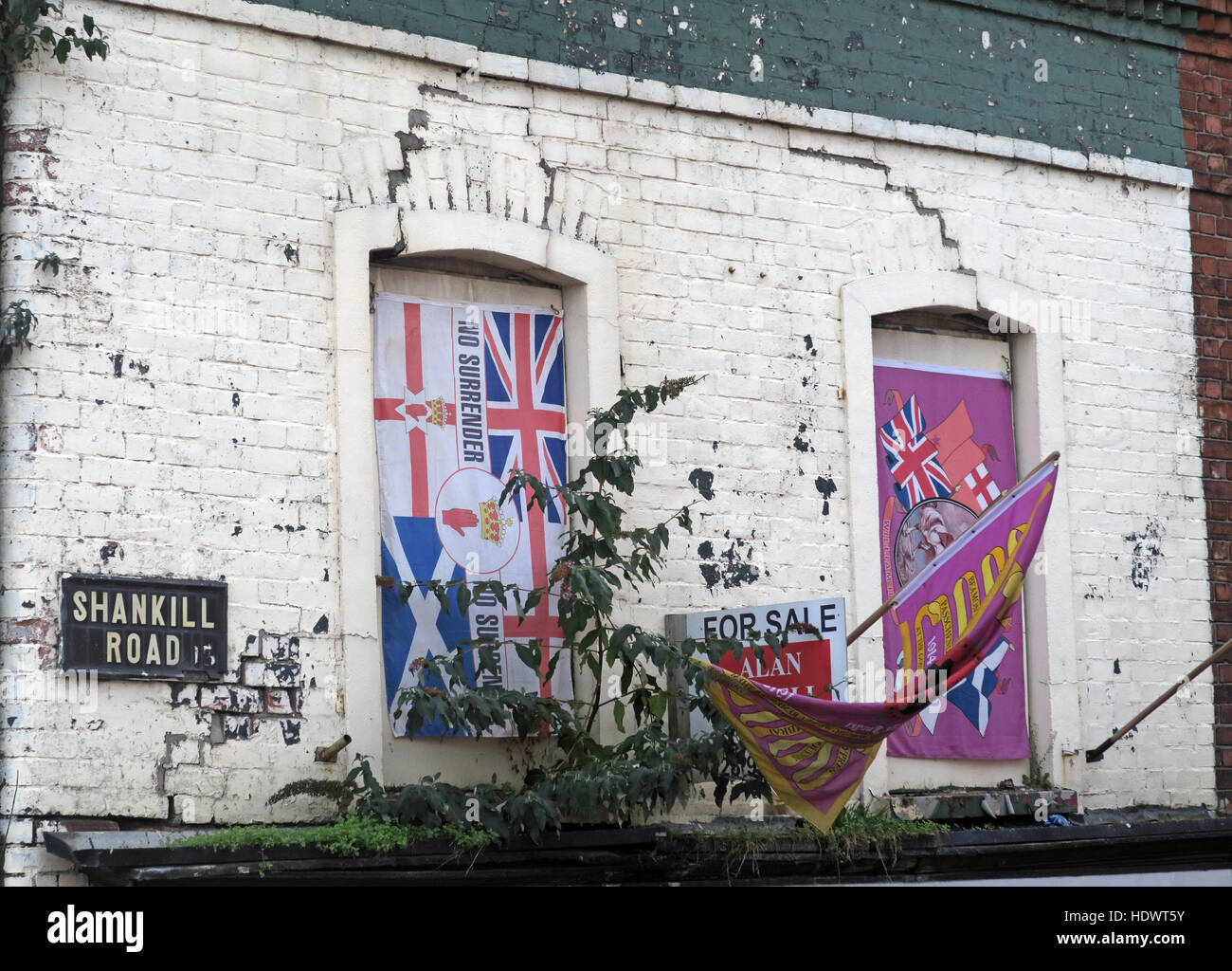 British flags, off Shankill Road West Belfast,Northern Ireland,UK - Stock Image
