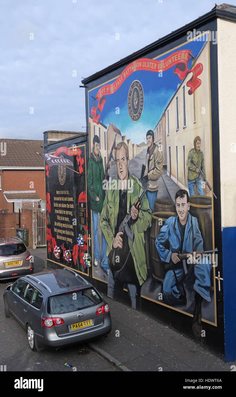 Ulster Volunteers Unionist mural, off Shankill Road West Belfast,Northern Ireland,UK Stock Photo