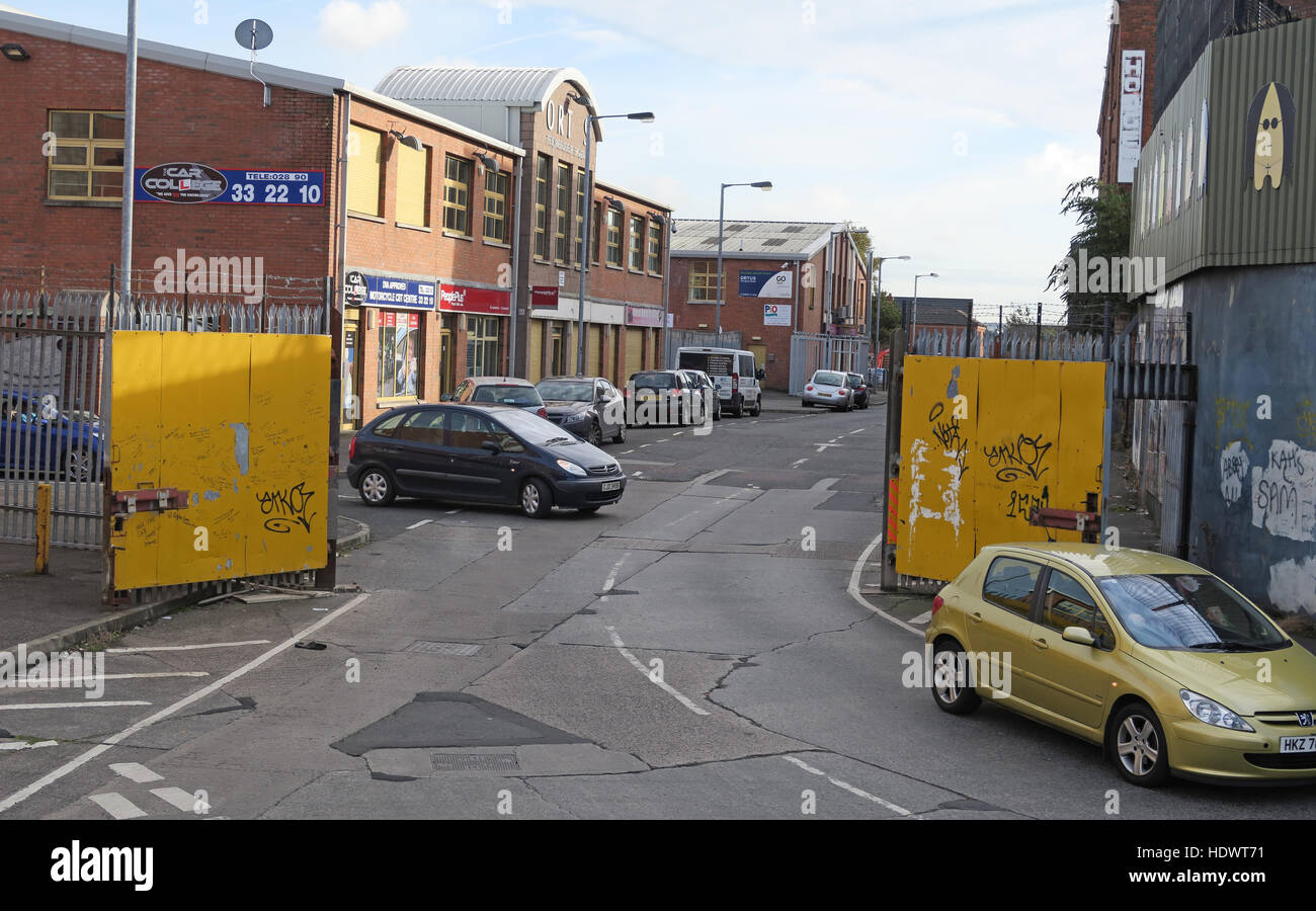 Gates to peace wall, Cupar Way, West Belfast, Northern Ireland, UK - Stock Image