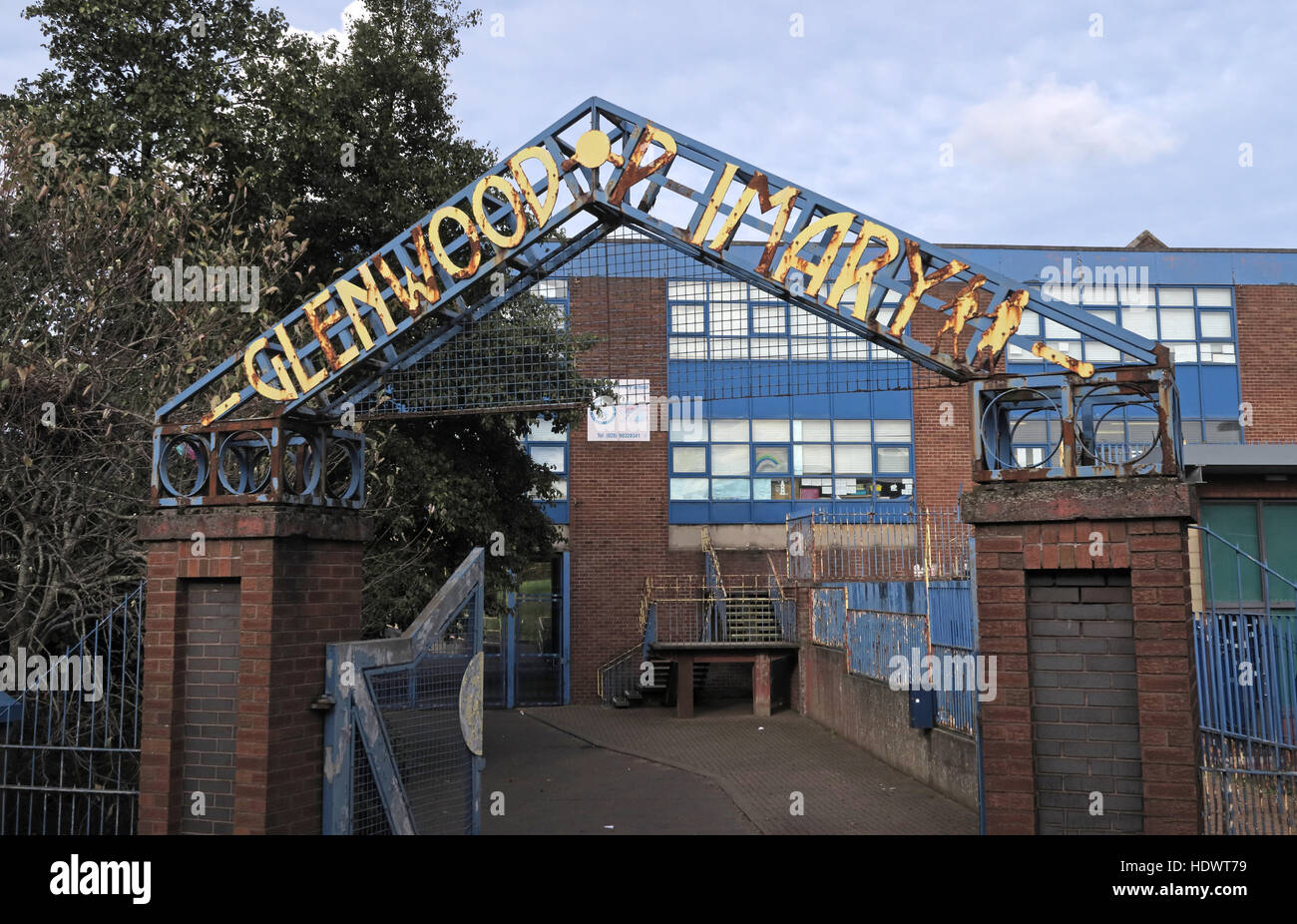 Glenwood Primary school, off Shankill Road West Belfast,Northern Ireland,UK - Entrance - Stock Image