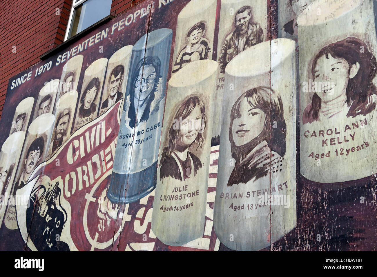 Belfast Falls Rd Republican Mural - Seventeen People Dead - Stock Image