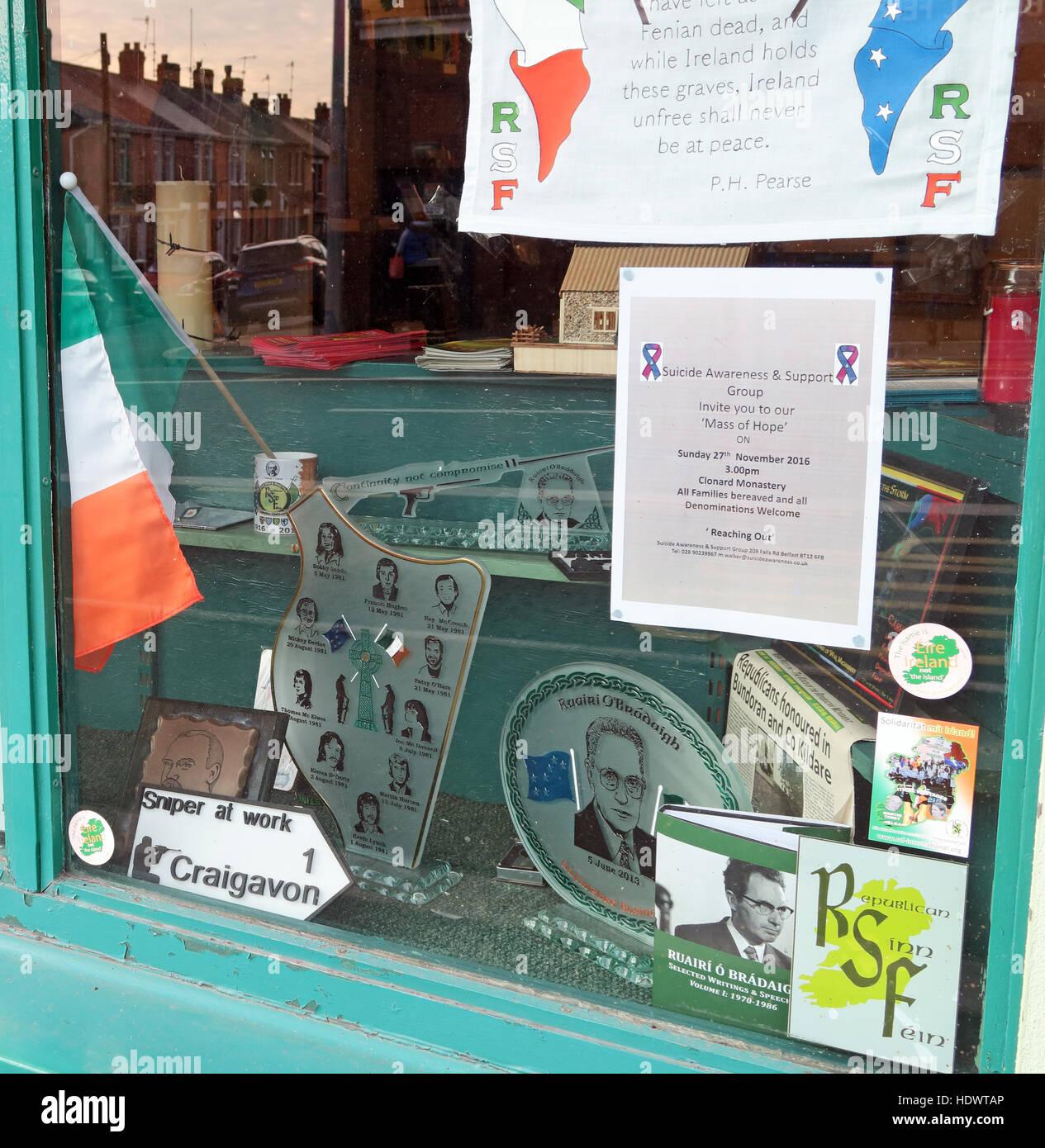 Belfast Falls Rd Republican Sinn Fein Souvenir Shop Stock Photo