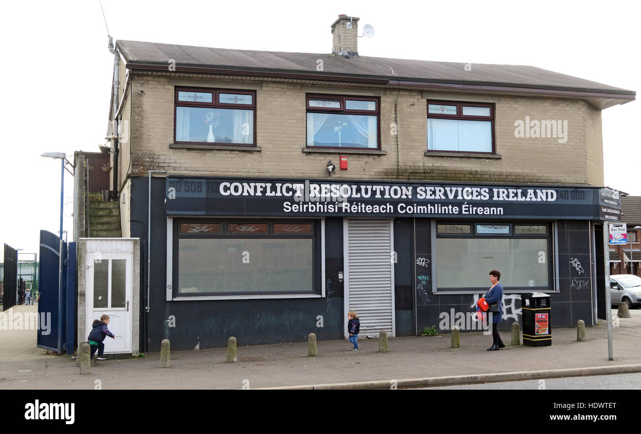 Belfast Falls Rd Republican Conflict Resolution Services Ireland - Stock Image