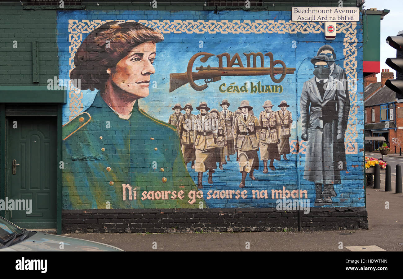 Belfast Falls Rd Republican Mural- Female Resistance Beechmount Avenue, Ni saoirse go saoirse na mban - Stock Image