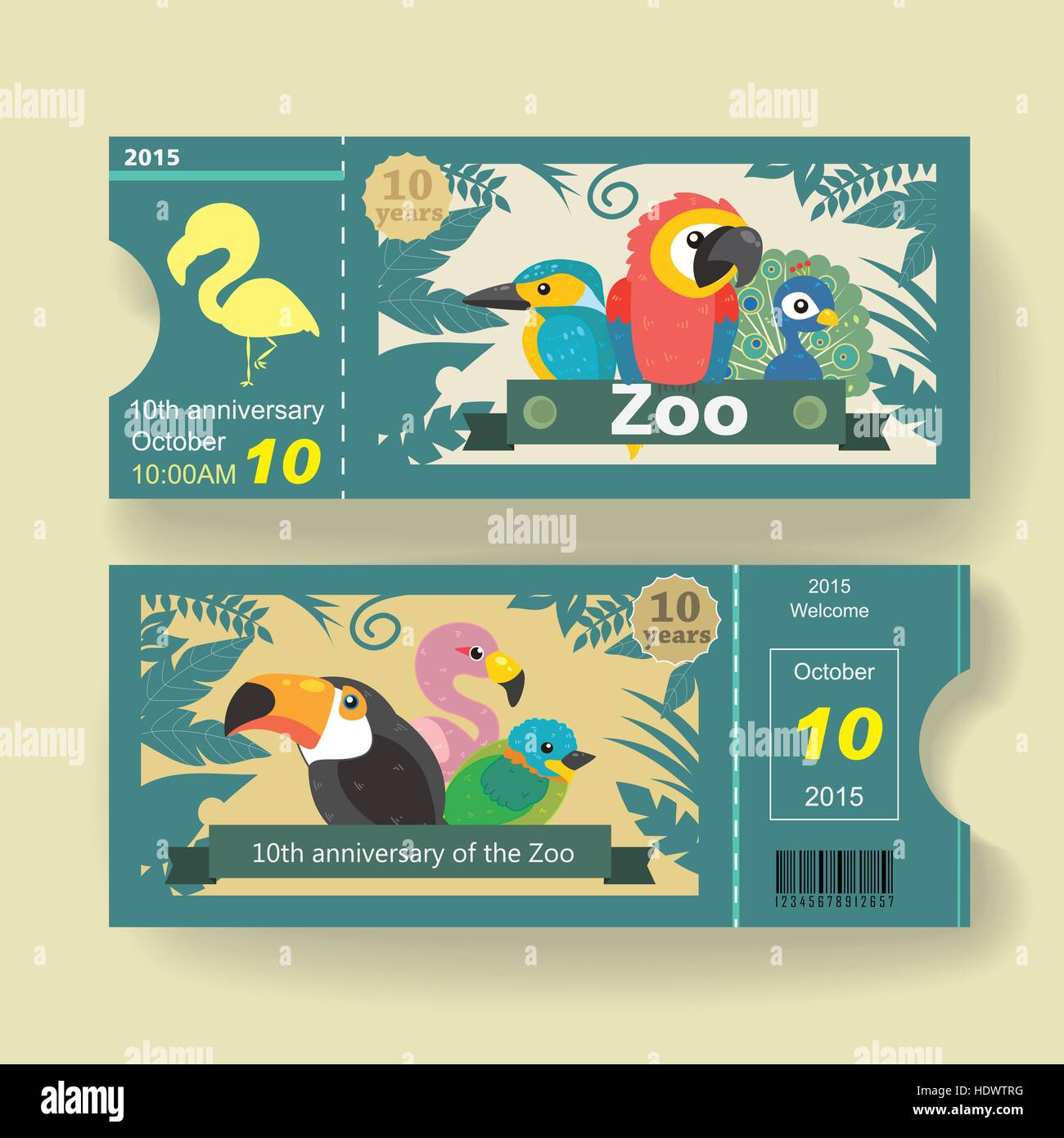 adorable 10th anniversary ticket design template for zoo - Stock Vector