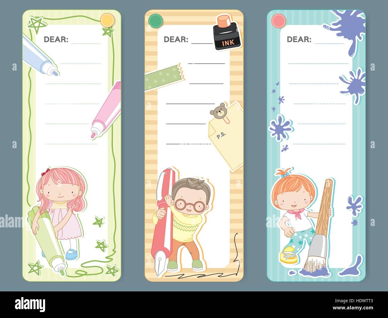 adorable cartoon style memo pad template design set