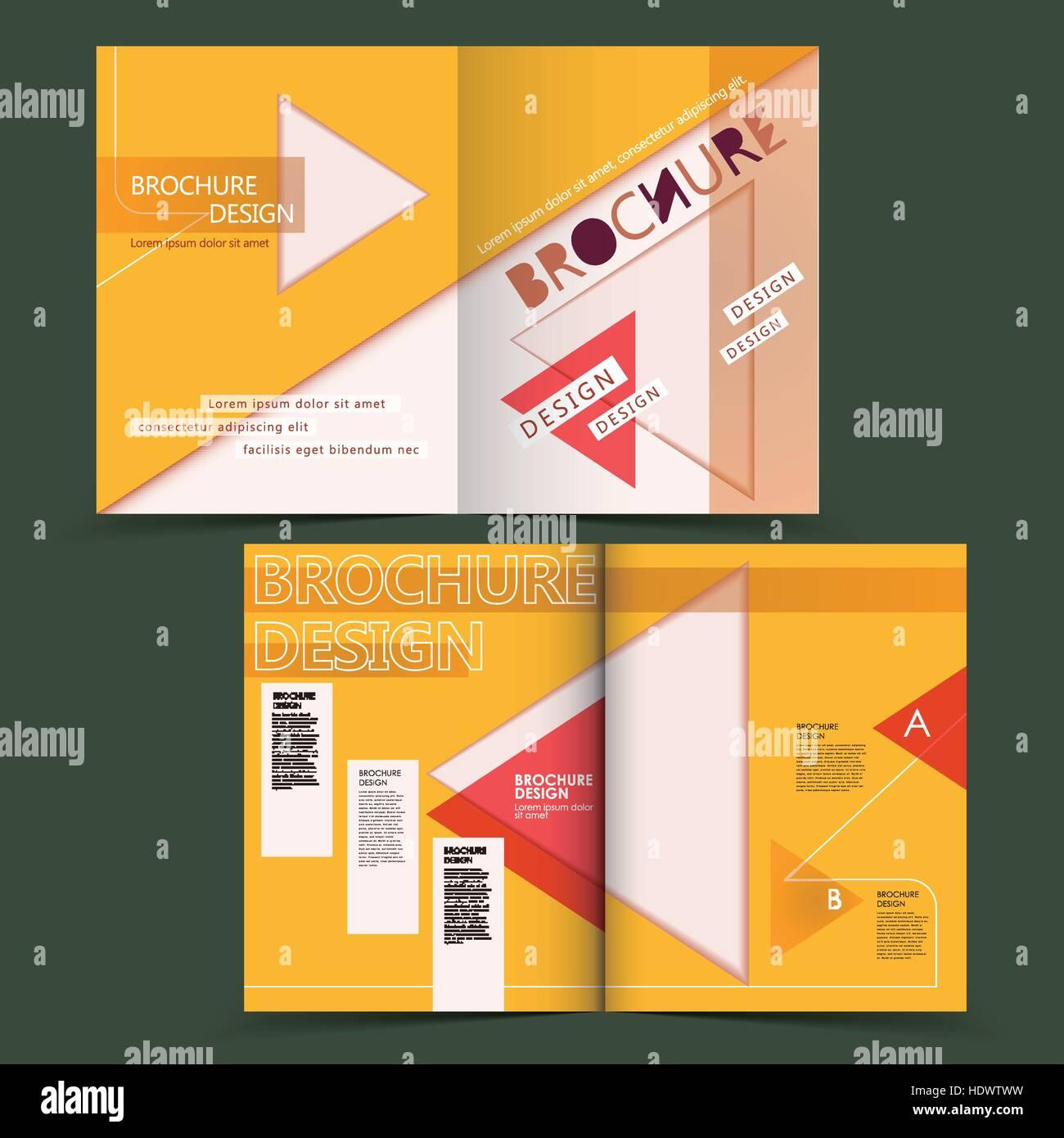creative geometric half-fold brochure design with triangle