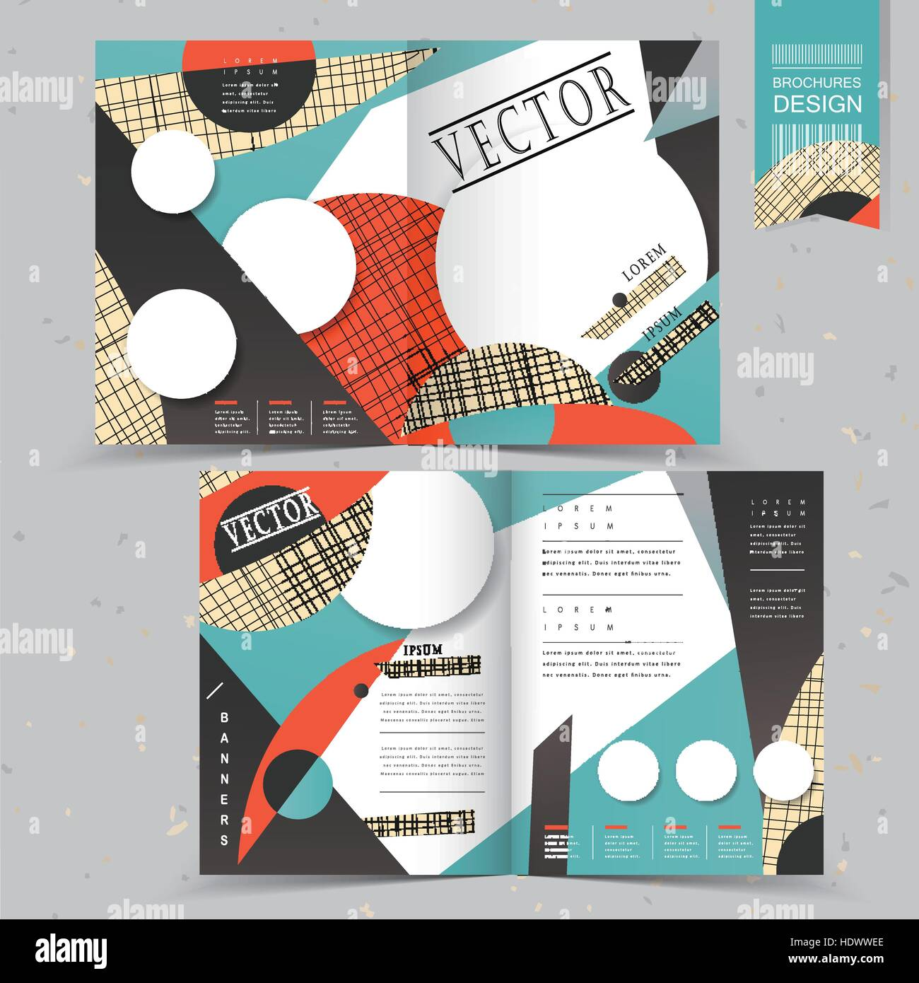 modern half fold template design in collage style stock vector art