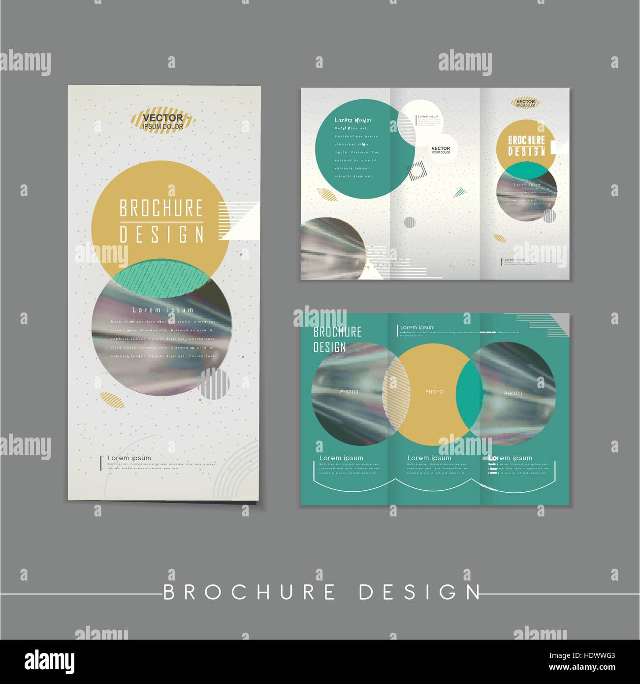 modern abstract tri fold brochure template design with circle stock