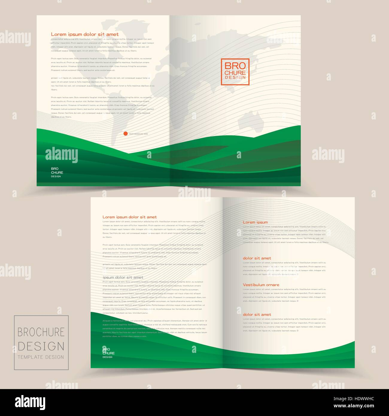 half fold brochure design templates with dynamic wave in green stock