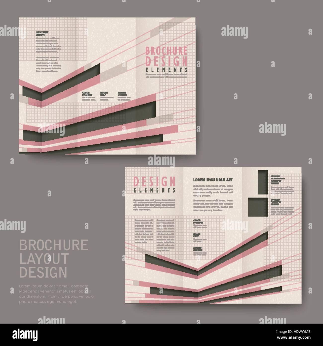 retro tri fold brochure design in pink and black stock vector art