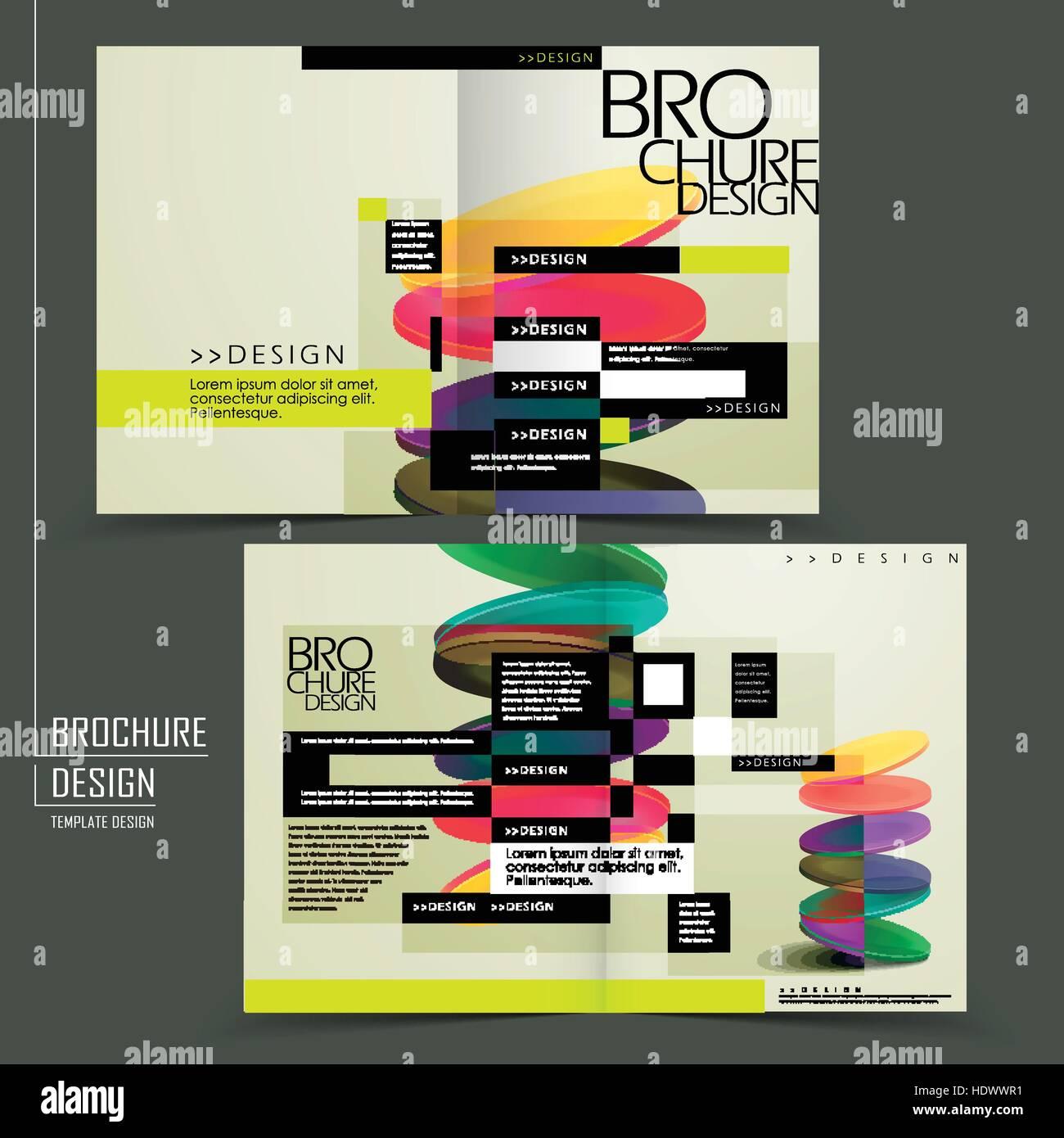 colorful geometric style half fold brochure template design stock