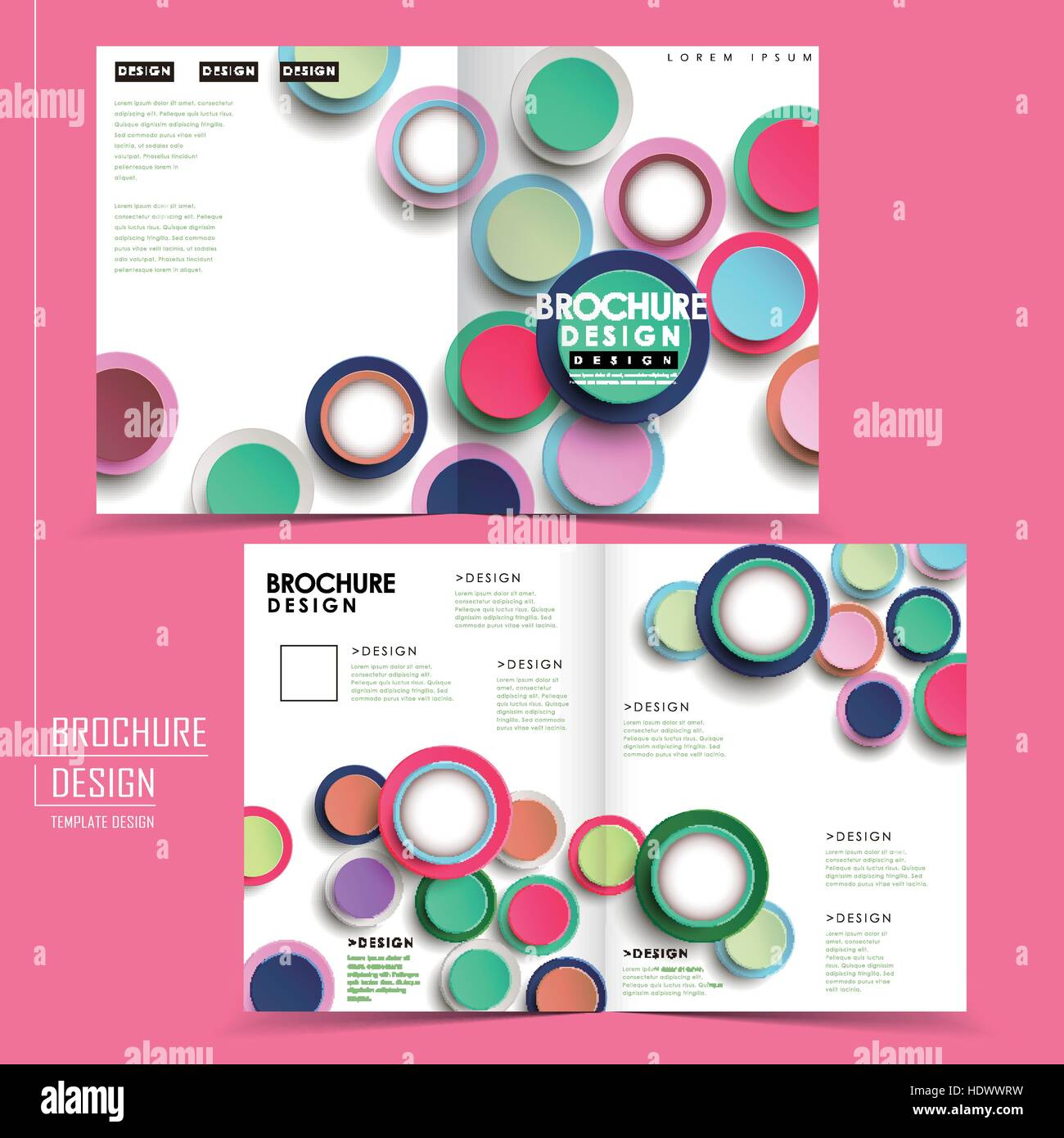 modern colorful half fold brochure template design with circle elements