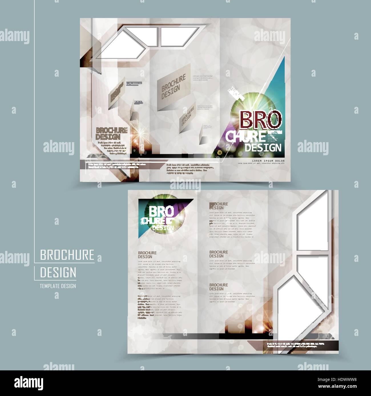 modern tri fold template brochure design in technology style stock