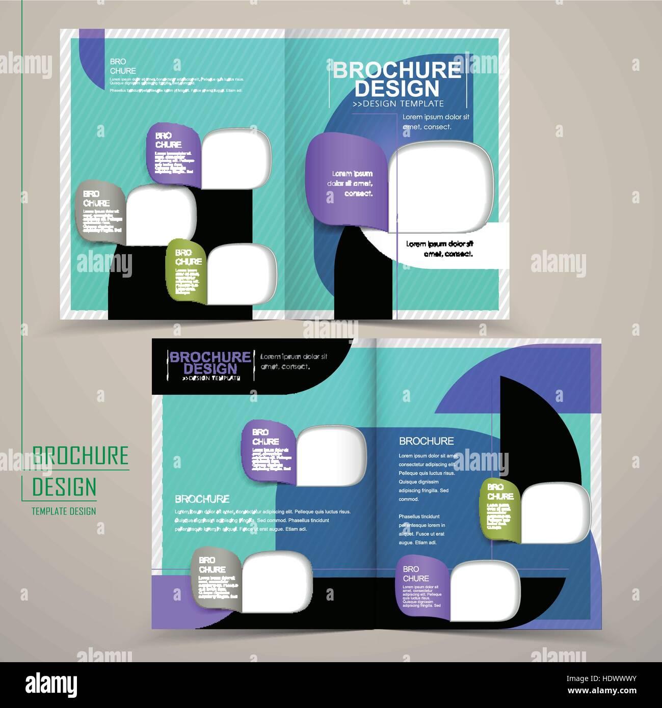 modern half fold brochure template design in blue with geometric