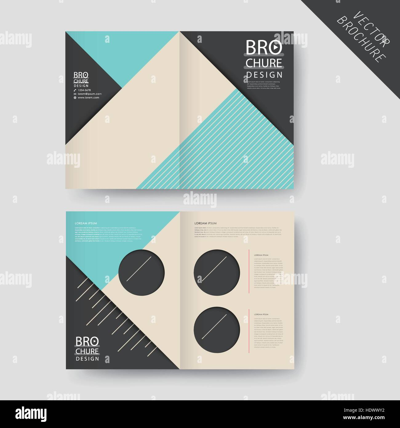 Modern Geometric Halffold Brochure Template Design Over Grey Stock - Single fold brochure template