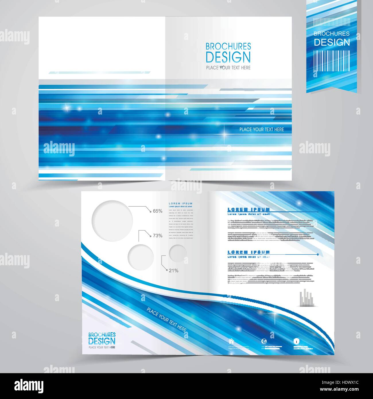 Abstract Technology Background Design For Halffold Brochure - Single fold brochure template