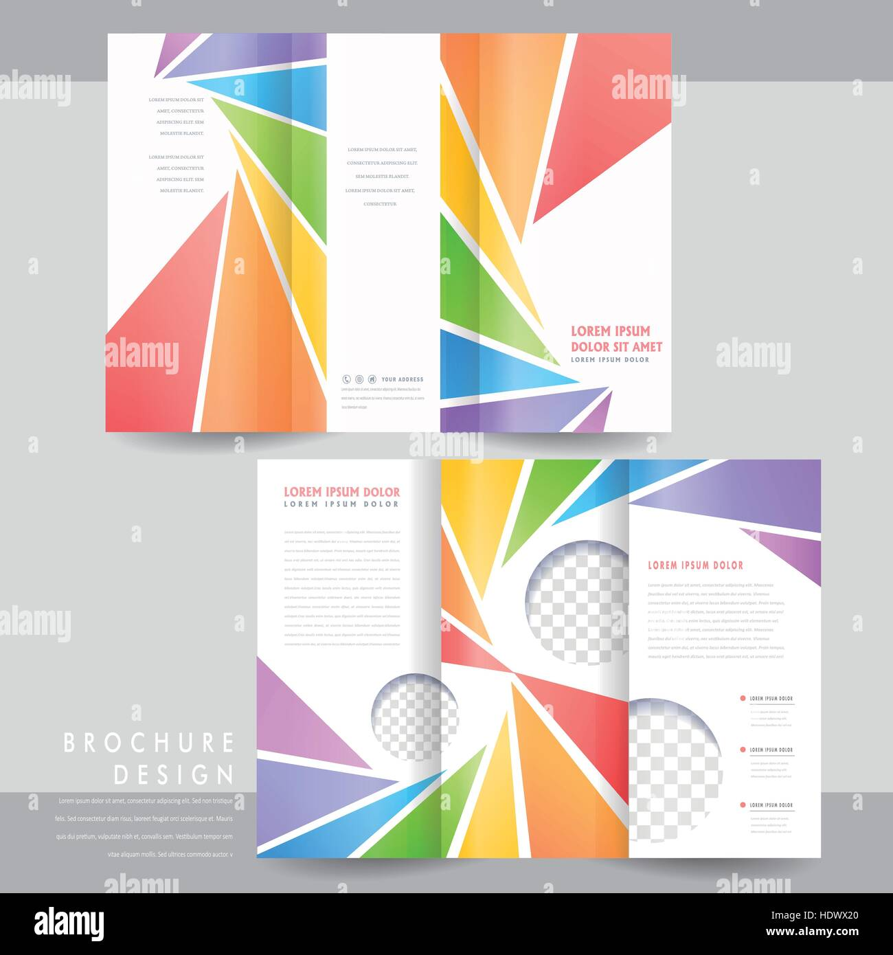 colorful tri fold brochure template design with spiral triangle