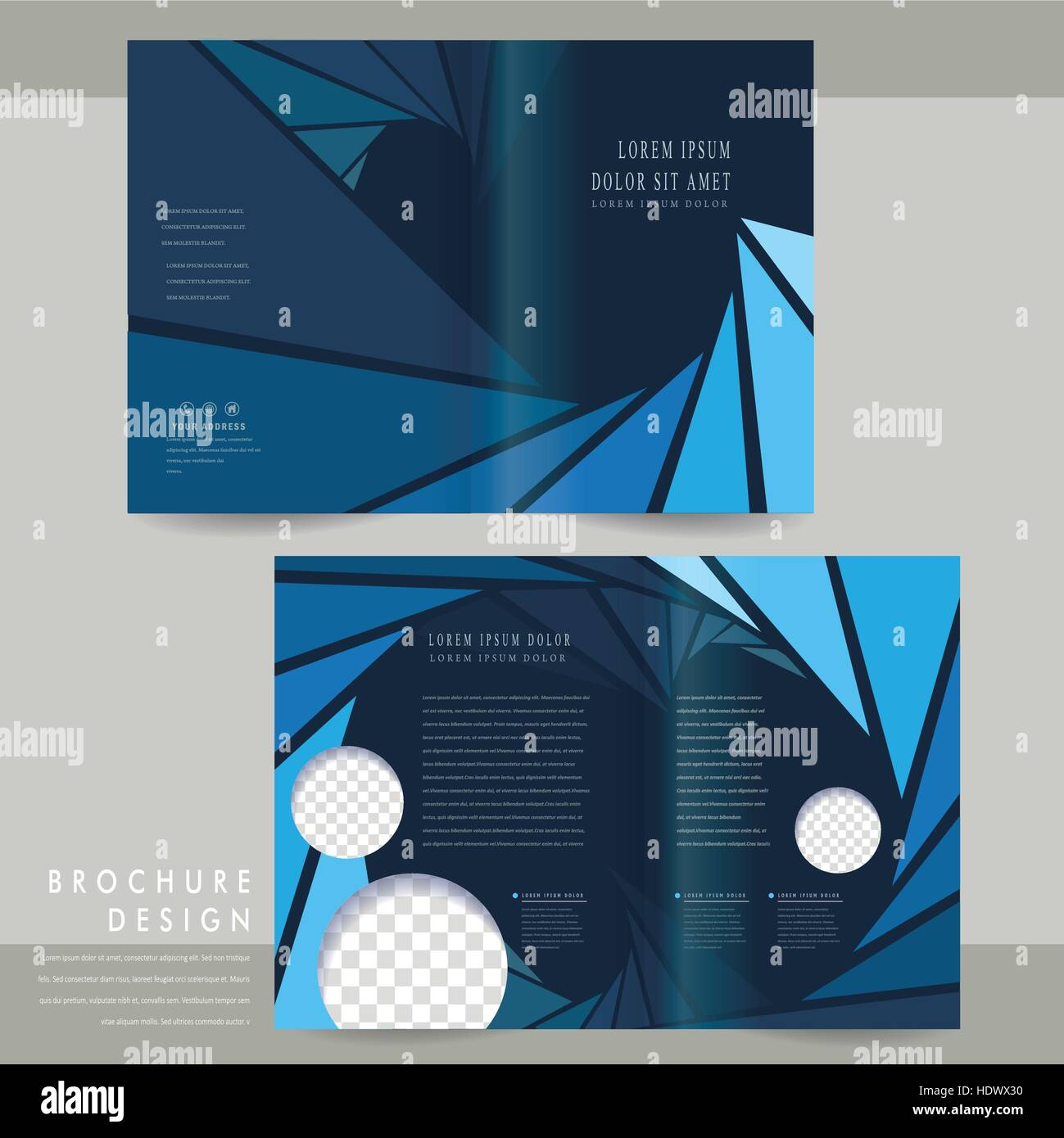 modern half-fold brochure template design in blue Stock Vector