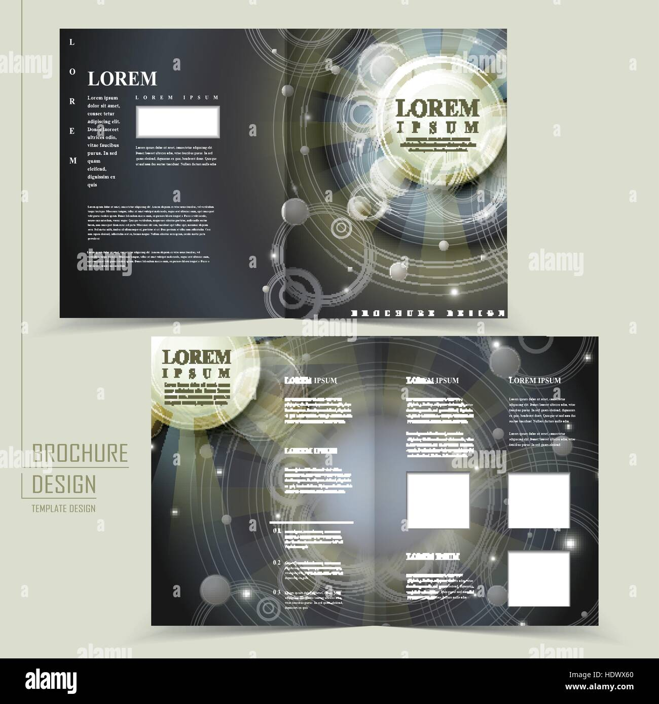 abstract egypt style design for half fold brochure template stock image