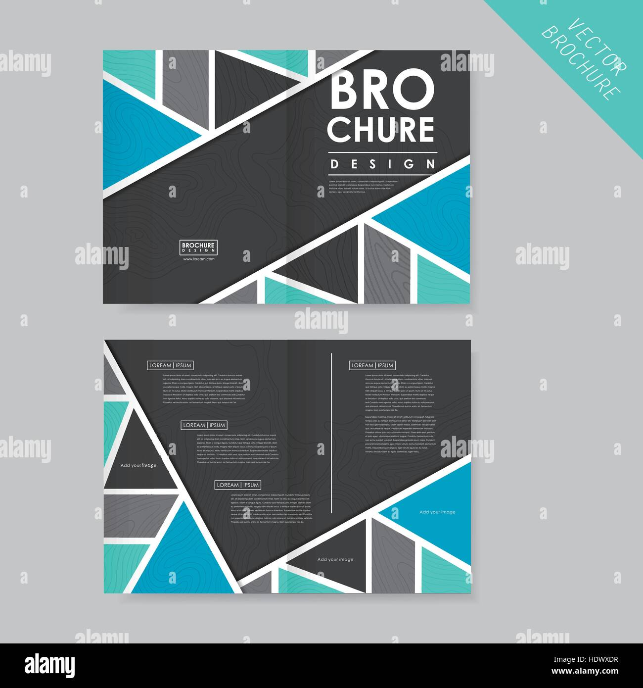abstract geometric half fold template for business advertising stock