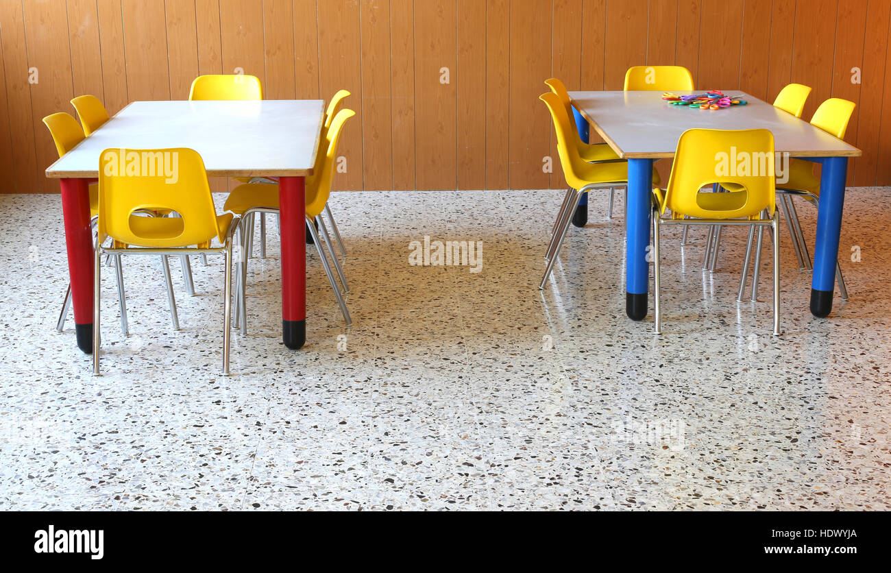 two small tables with chairs in the classroom of kindergarten & two small tables with chairs in the classroom of kindergarten Stock ...