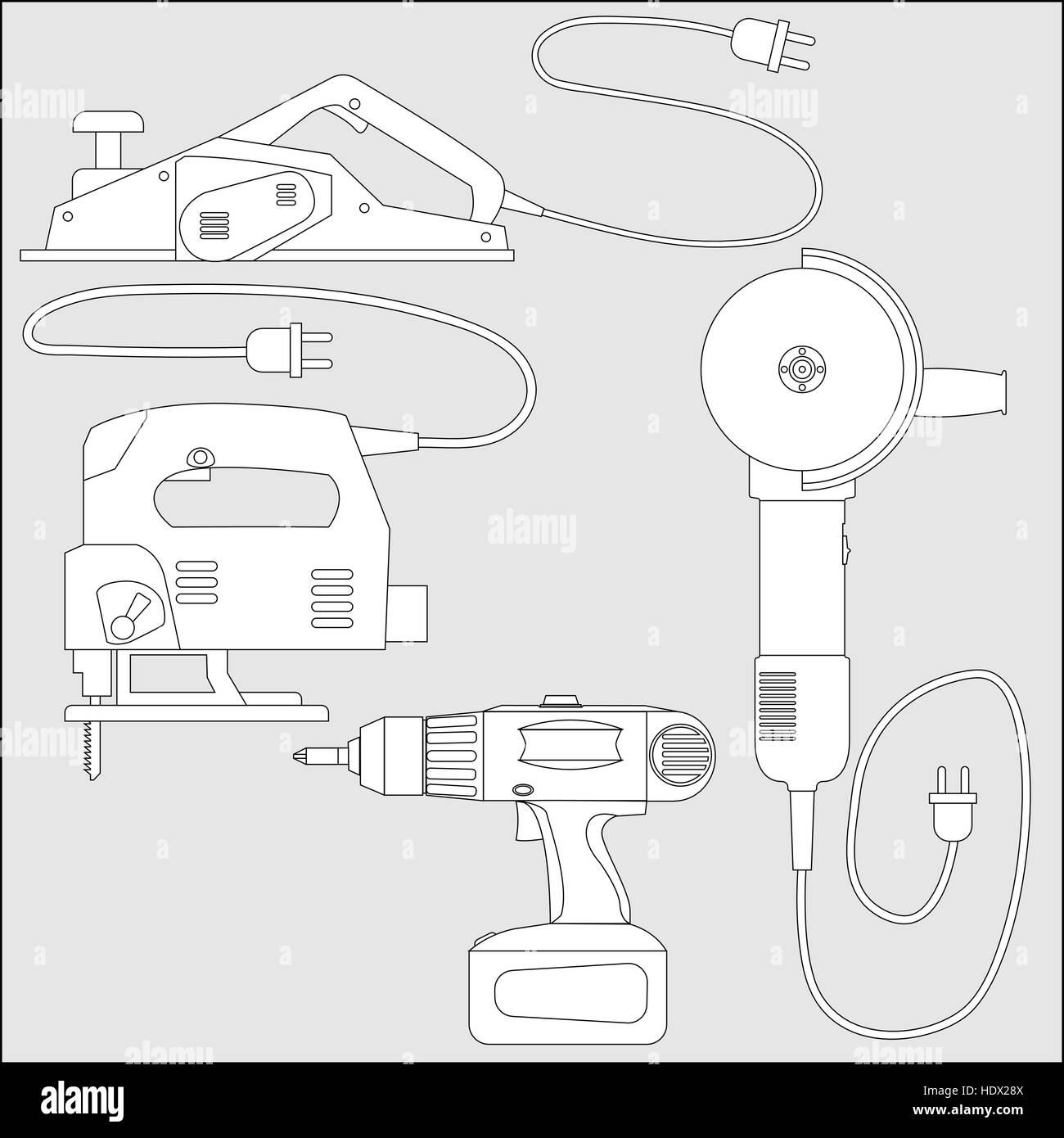 Vector set of power tools - outline sketch - Stock Vector