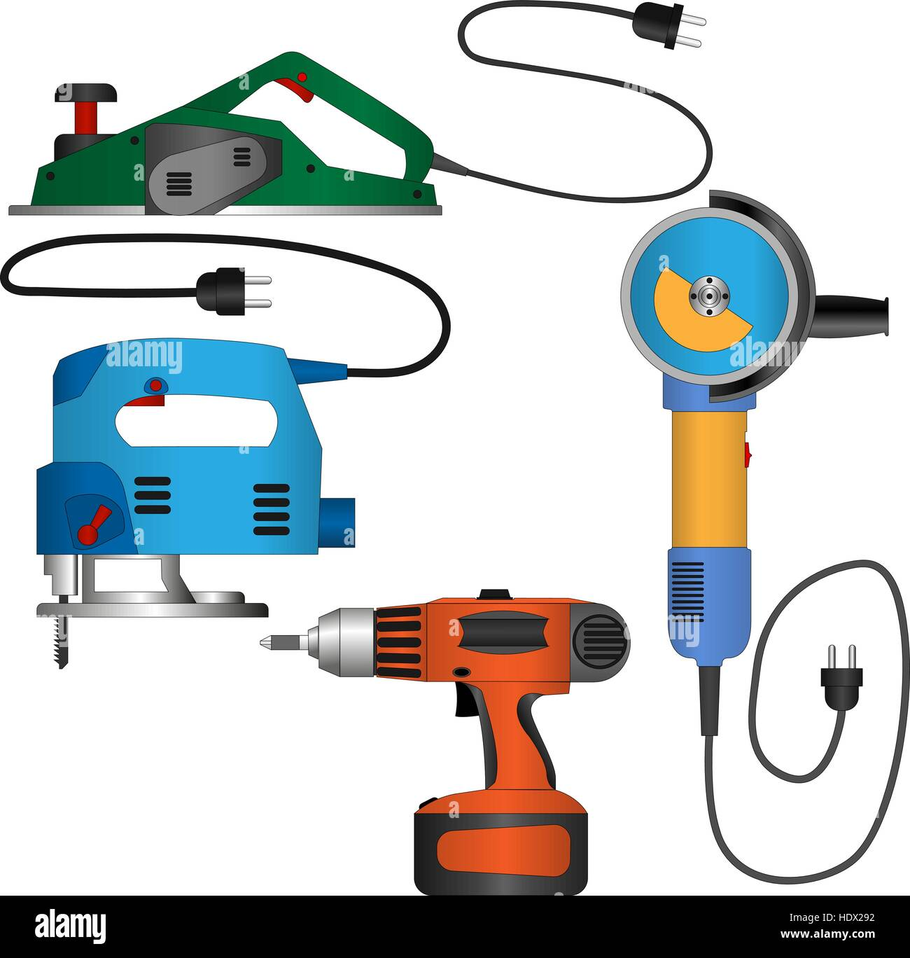 Coloured vector set of power tools with wires - Stock Vector