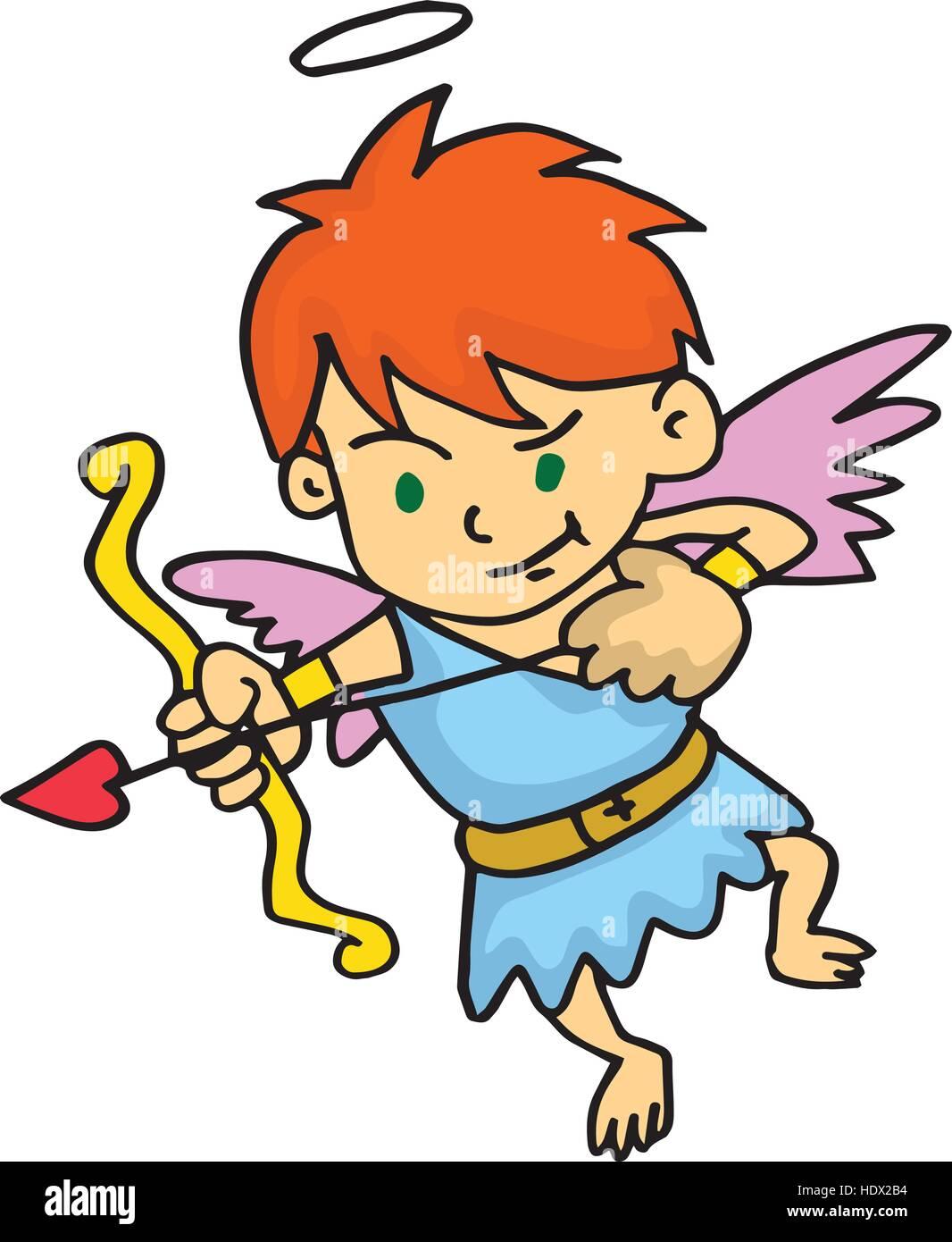Cupid aiming at something cartoon vector - Stock Vector