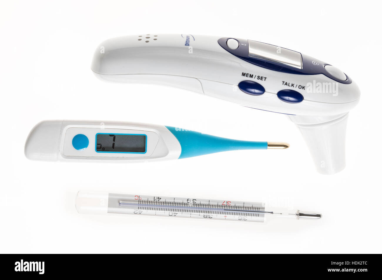Fever thermometer, digital thermometer, digital mercury thermometer, temperature monitor, ear thermometer, - Stock Image